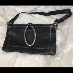 DKNY Vintage Black Leather Purse with Silver